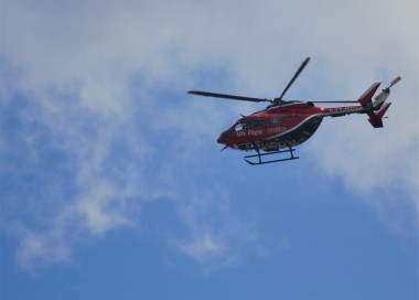 Life Flight that flew directly overhead.